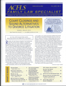 ACFLS: Sound Alternatives To Divorce Litigation